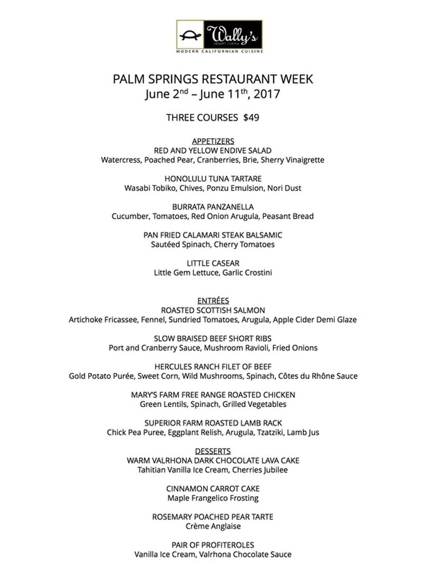 2017 restaurant week menu - wally's desert turtle